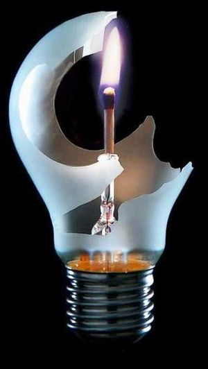 Creative lightbulb smashed